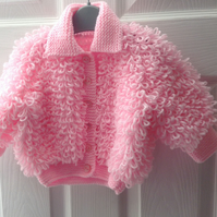 Hand knitted 'loopy' jacket - age 12-18 months