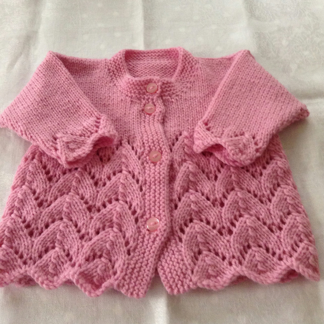Hand knitted lacy cardigan - 0-3 months