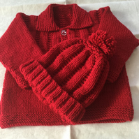 Hand knitted jacket with bobble hat - 3-6 months
