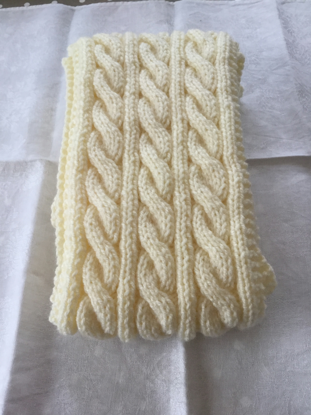 Hand knitted Aran cable scarf