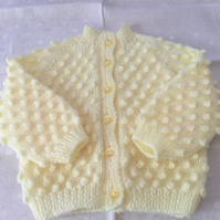 Hand knitted bobble cardigan - 0-3 months