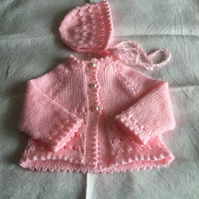 Hand knitted baby cardigan and bonnet - newborn