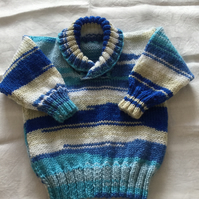 Hand knitted shawl collar jumper - 3-6 months