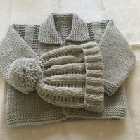 Hand knitted baby jacket and matching bobble hat 0-3 months