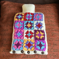 Hand crochet hot water bottle cover with 2 litre hot water bottle
