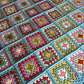 Hand crochet granny square lapghan Cath Kidston inspired colours - Made to Order