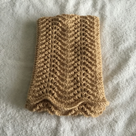 Hand knitted fan and feather stitch scarf in camel