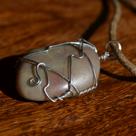 Wire wrapped natural pebble pendant necklace