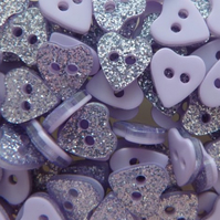 Lilac Glitter Heart Buttons, 10.5mm Heart Buttons