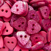 Pink Glitter Heart Buttons, 9mm Heart Buttons