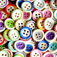 50 Mixed Design Wooden Buttons, 15mm Wooden Buttons