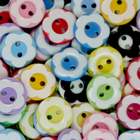 Daisy Flower Buttons, Assorted Coloured Flower Buttons, Craft Supplies