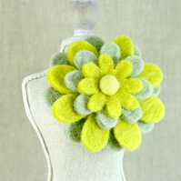 Wool Felt Flower Brooch, Pale Green and Yellow