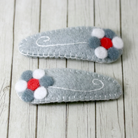 Grey and White Felt Flower Hair Clip