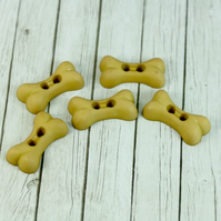 Set of 5 Dog Shaped Bone Buttons