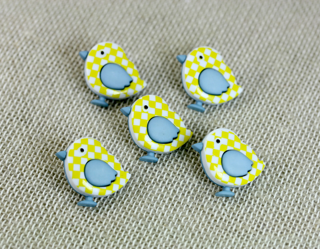 Set of 5 Retro Bird Buttons, Craft Supplies