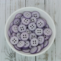 Lilac Gingham Buttons, Checked Buttons 10mm