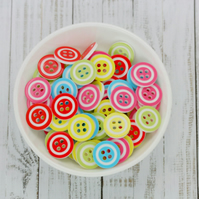 50 Mixed Coloured Resin Buttons, 13mm Coloured Rim Edge Buttons