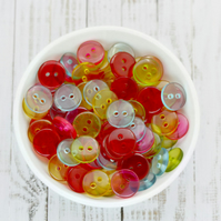 11mm Clear Acrylic Buttons, Pack of 50  Mixed Colour Buttons