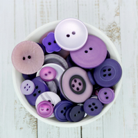 Purple and Lilac Buttons, Pack of 50 Buttons