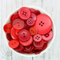 Red Mixed Buttons, 50 Mixed Buttons
