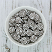 Grey Polka Dot Buttons, Spotty Buttons 10mm