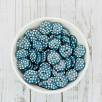 Teal Polka Dot Buttons 10mm