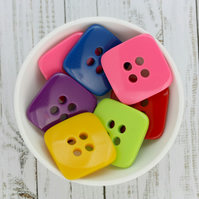 Square Mixed Acrylic Colour Buttons, 12 x 25mm