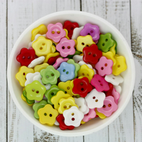 50 Daisy Mixed Buttons, 12mm