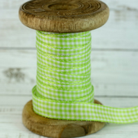 Lime Green Gingham Ribbon, 3 Metre Cut of 10mm