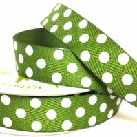 Moss Twill Dot Ribbon - 4 Metres - Full Reel
