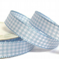 Baby Blue Gingham Ribbon, 3 Metre Cut of 10mm