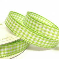 Lime Green Gingham Ribbon
