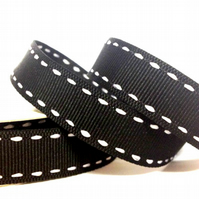 Black Side Stitch Grosgrain Ribbon 15mm - 4 Metres - Full Reel
