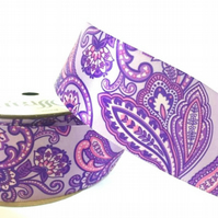 38mm Lilac French Paisley Ribbon, 2.7 Metres - Full Reel