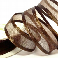 Chocolate Satin Edge Organza Ribbon
