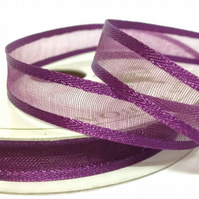 Plum Satin Edge Organza Ribbon, 10mm x 10m, Full Reel