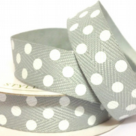 Grey Twill Dot Ribbon - 4 Metres - Full Reel