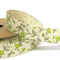 Cotton Lime Flower Ribbon - 3 Metre Cut of 15mm
