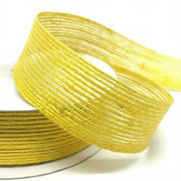 Hessian Style Ribbon,  Yellow Hessian, 10 Metre Roll x 15mm