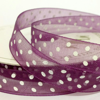 Plum Organza Ribbon with White Dots - 10mm - Full Reel