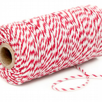 Red Baker's Twine 10m - Red and White Packaging String