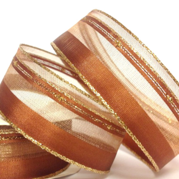 25mm Christmas Bronze Sparkle Ribbon