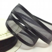10mm Black Satin Sheer Ribbon