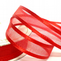 10mm Red Satin Sheer Ribbon