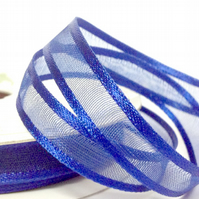 10mm Navy Blue Satin Sheer Ribbon