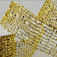 Gold Wired Lurex Mesh 25mm