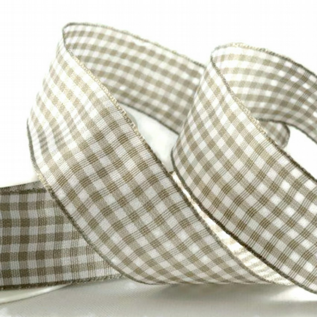 Grey Gingham Ribbon, 3 Metre Cut of 10mm