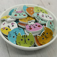 10 Wood Cat Face Shaped Buttons