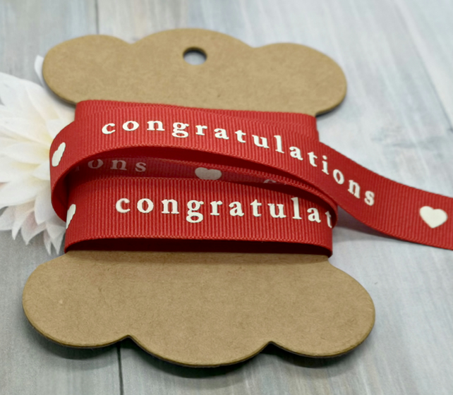 Red Printed Congratulations Ribbon